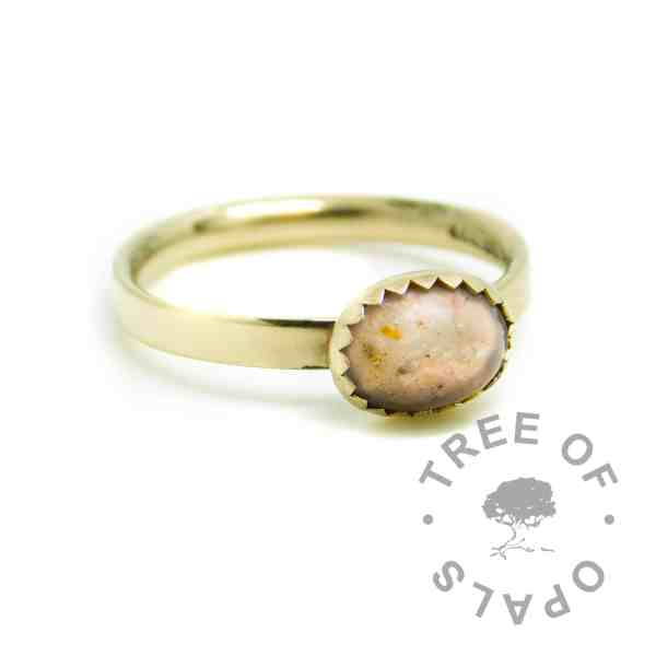 solid 14ct gold cremation ashes ring Fairy Pink Resin Sparkle Mix