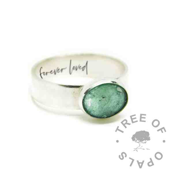 """aqua cremation ashes ring, Angelic Aqua resin sparkle mix, 6mm shiny Argentium silver band. Engraved inside in Silver South Script font """"forever loved"""""""