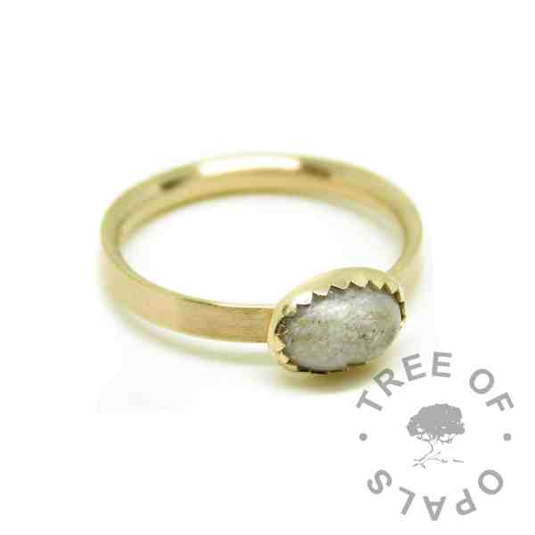 solid 14ct gold ashes ring, unicorn white resin sparkle mix, brushed band