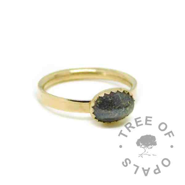 gold cremation ashes ring black, solid 14ct gold hallmarked. Vampire Black resin sparkle mix, shiny band ring.
