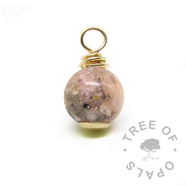 gold ash pearl . Fairy pink resin sparkle mix, solid gold setting