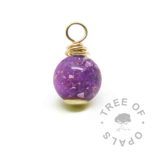 gold cremation ash pearl orchid purple sparkles
