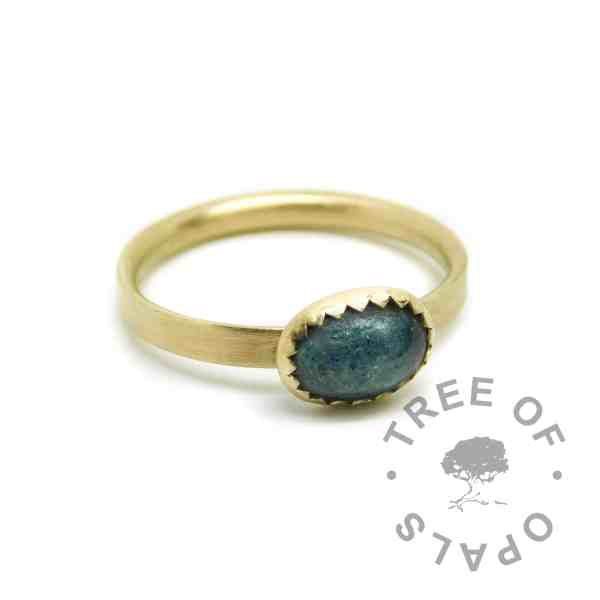 gold ashes ring mermaid teal resin sparkle mix, shiny band. Solid 14ct gold. Mockup