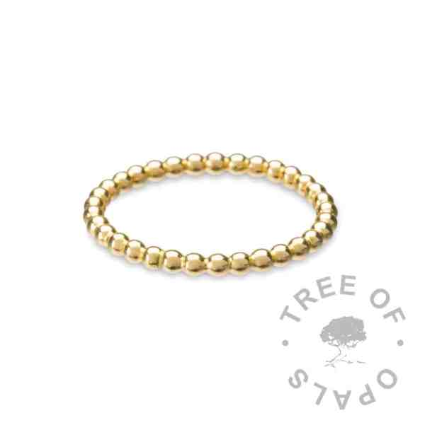 slim solid gold ring band, gold bubble wire ring band, 2mm wide 9ct gold from Tree of Opals