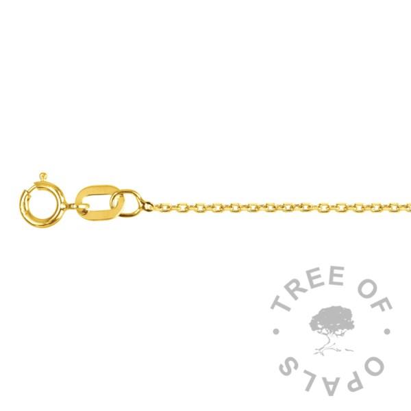 light-medium 9ct gold tri belcher 0.75mm chain Tree of Opals