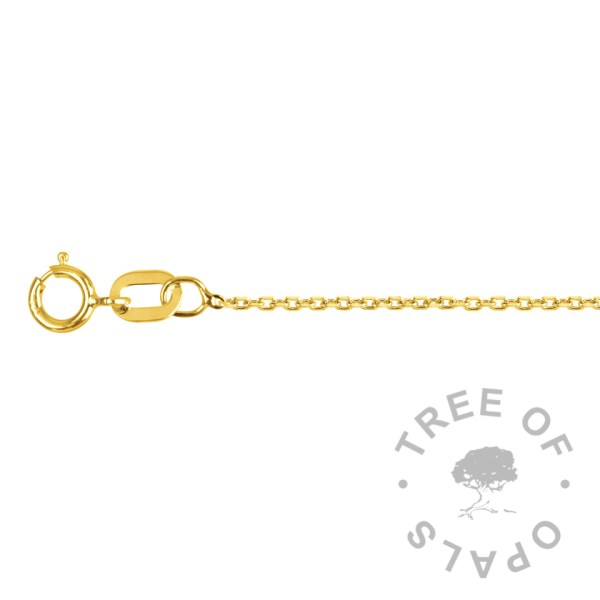light-medium 9ct gold tri belcher 0.75mm chain Tree of Opals