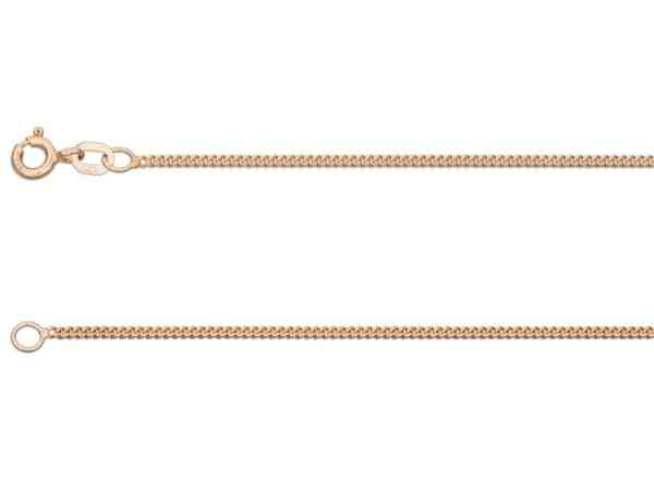 9ct Red Gold 1.3mm Curb Chain Hallmarked