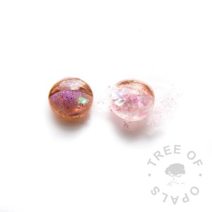 lock of hair proof image, an example where a client asked for pink sparkles. The left is pink shimmer powder with a little pink opalescent and the right is pink opalescent and pink hexagonal glitter Tree of Opals