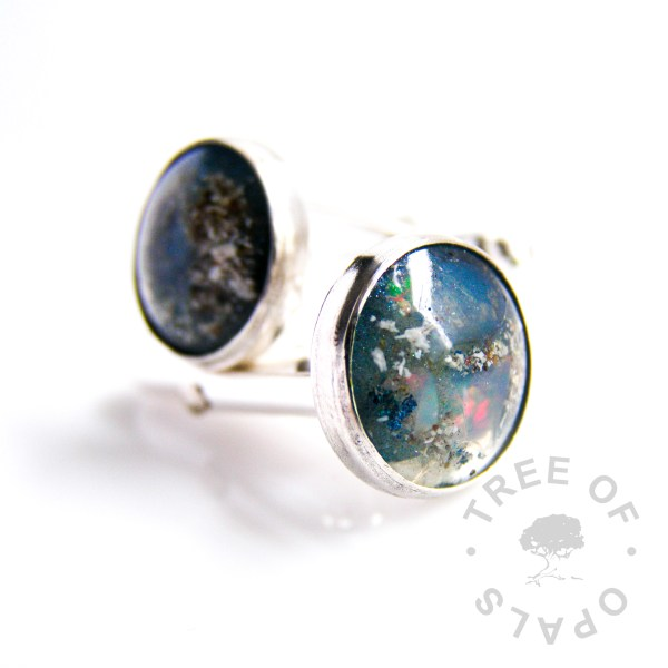 sterling silver set cremation ash cufflinks with natural genuine opal slices (October birthstone) and aegean blue background and crystal clear resin, cremains jewellery memento
