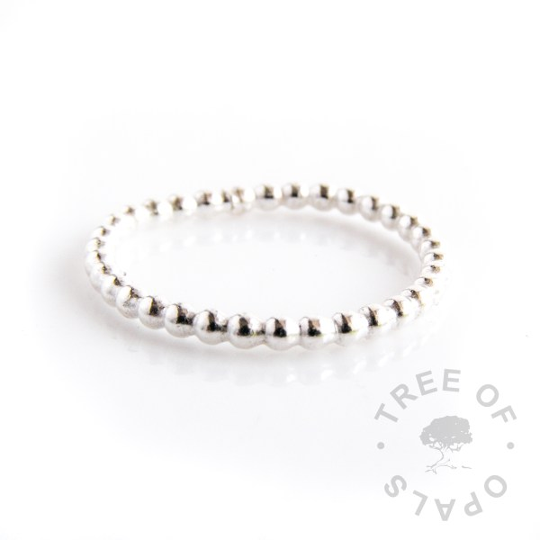 bubble wire slim stacking ring with solid argentium silver