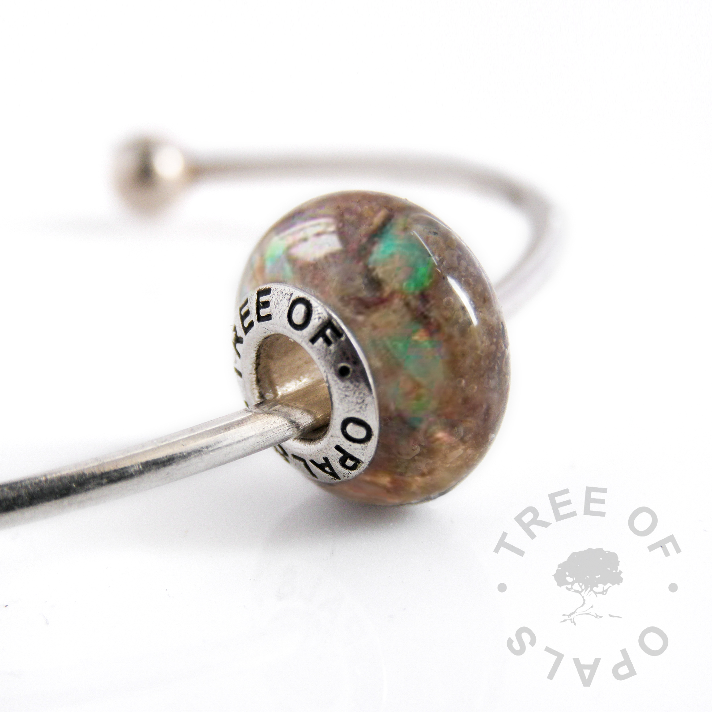 umbilical cord charm bead with genuine opal flakes (October birthstone). With Tree of Opals signature charm bead core made of solid sterling silver
