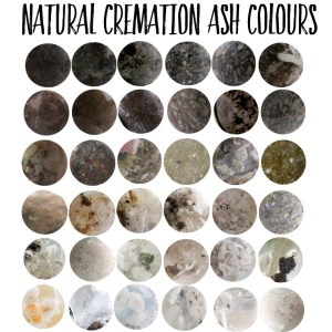 These are examples of the natural variations in cremation ash colour. We can try to mask the colour but every piece is unique and depends on the ash you send us