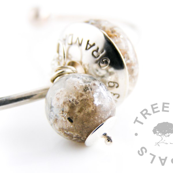 cremation ash pearl necklace and charm bead with silver leaf, solid sterling silver stamped charm washer family order