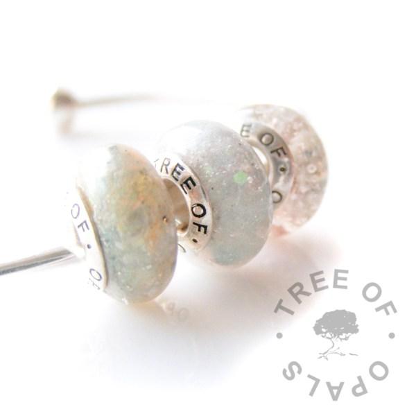 cremation ash charm bead shimmer resin charm trio