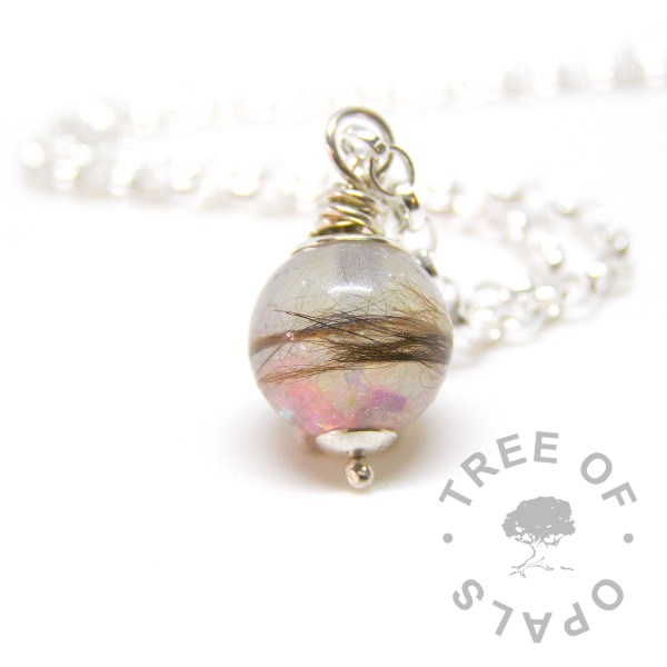 lock of hair pearl necklace memorial with cat fur and pink opalescent flakes, with a medium heavy necklace chain upgrade