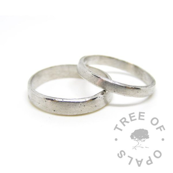 cremation ashes sterling silver metal clay wedding memorial rings, Tree of Opals memorial jewellery