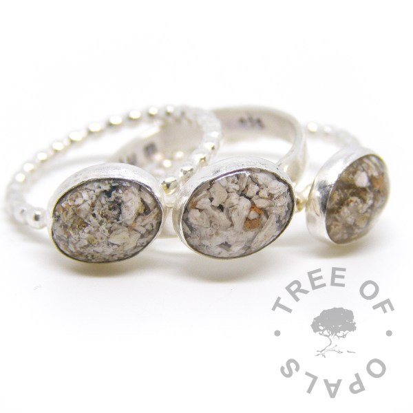 cremation ashes rings classic natural cremains on handmade sterling silver bands, bubble wire bands and brushed band