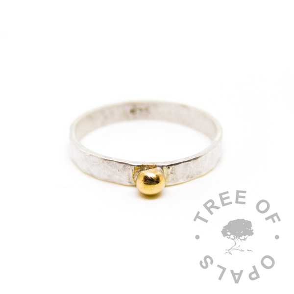9ct gold accent ring on a handmade textured wide band ring Tree of Opals copyright watermarked image, cutout white background 2018