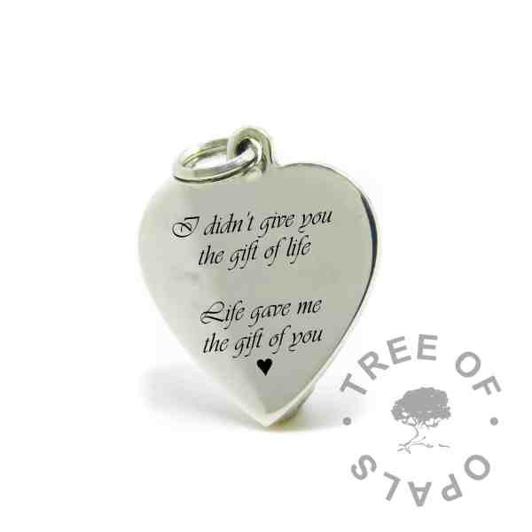 engraved heart pendant mockup in Vivaldi font, I didn't give you the gift of life, Life gave me the gift of you, with heart symbol
