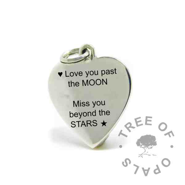engraved heart pendant mockup in Arial font, Love you past the MOON, miss you beyond the STARS with heart and star symbols
