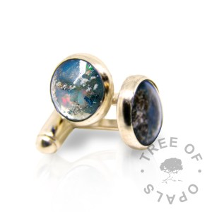 solid 14ct gold cremation ash cufflinks with aegean blue and October birthstone opal