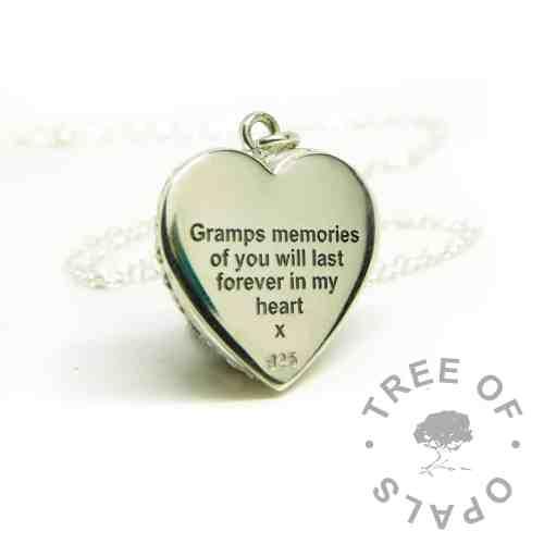 memorial necklace engraved silver necklace memories of you engraved heart necklace. Arial font