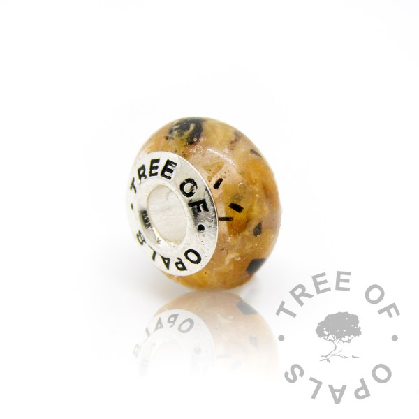 classic umbilical cord charm for Pandora bracelets in clear resin with solid sterling silver Tree of Opals core