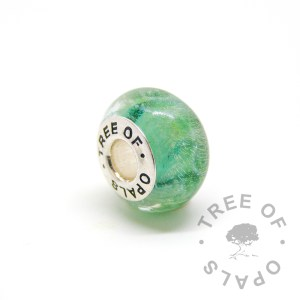 glass cremation charm basilisk green solid sterling silver Tree of Opals core