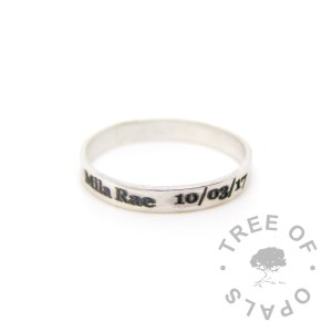 laser engraved brushed wide band ring in solid sterling silver, text only engraving