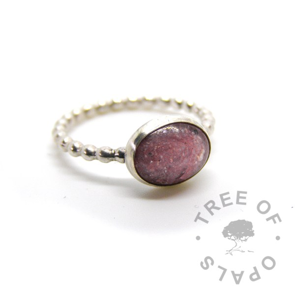 cremation ash ring fairy pink sparkle mix on bubble wire band in solid sterling silver