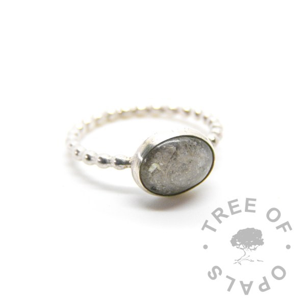 cremation ash ring unicorn white on bubble wire band in solid sterling silver