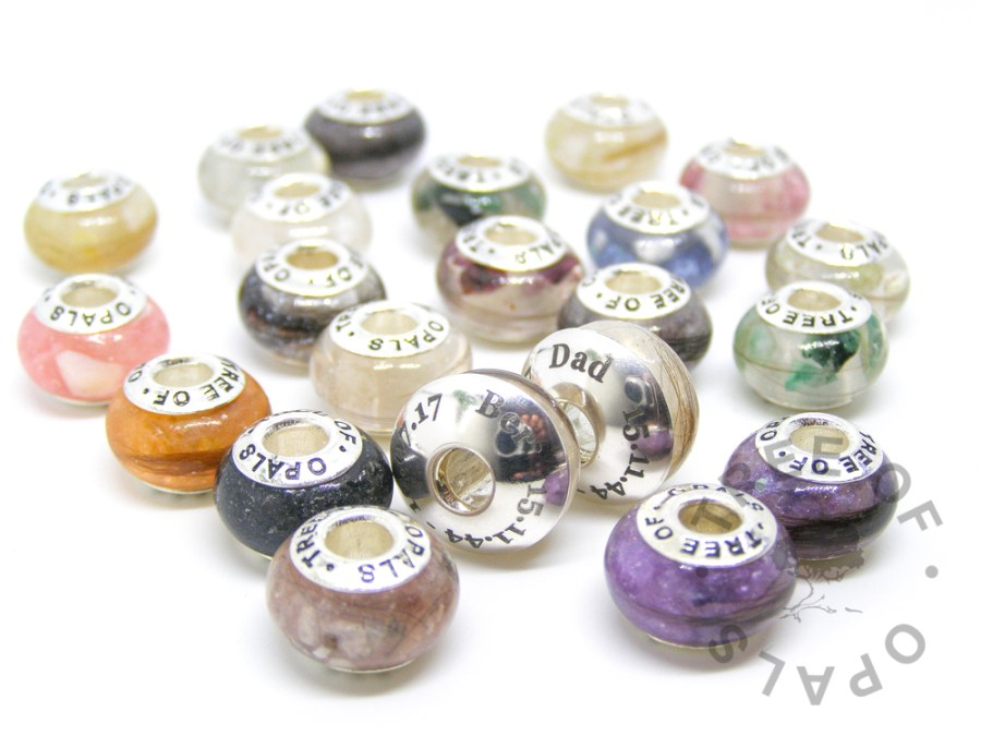 Tree of Opals charms for Pandora bracelets in a variety of colours and memorial elements with two laser engraved washers
