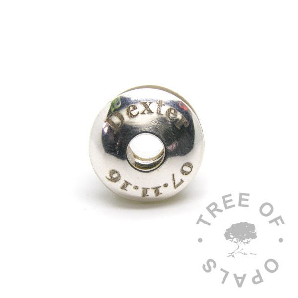 laser engraved charm washer baby date of birth charm Tree of Opals