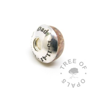 laser engraved charm washer side view (date changed for privacy) for resin and lampwork charm beads and Pandora bracelets. This listing is just for the charm bead itself and you can add a <a href=