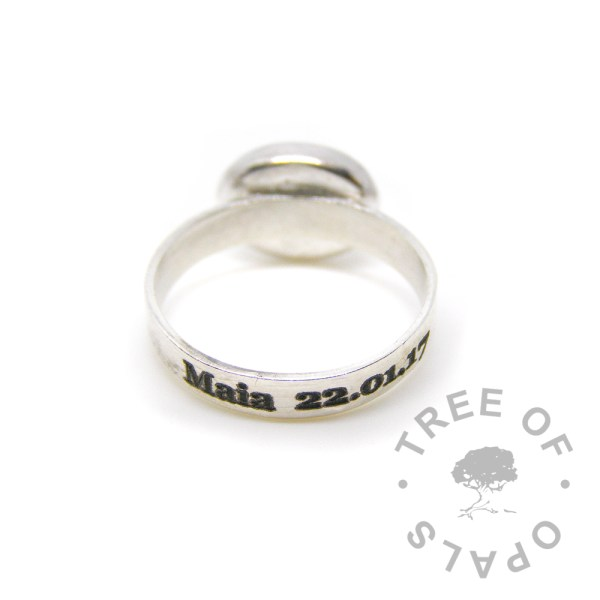 brushed band ring laser engraved text outside in solid sterling silver with 10x8mm bezel cup for memorial jewellery