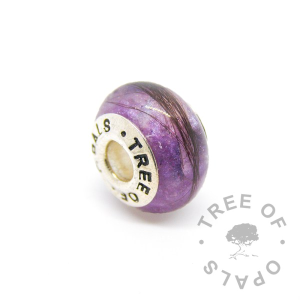 orchid purple lock of hair charm for Pandora bracelets by Tree of Opals