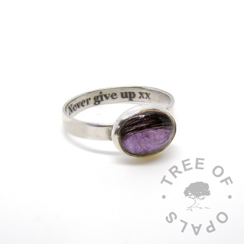 """laser engraved text inside brushed band hair memorial ring orchid purple sparkles in a 10x8mm cabochon """"stone"""" by Tree of Opals"""