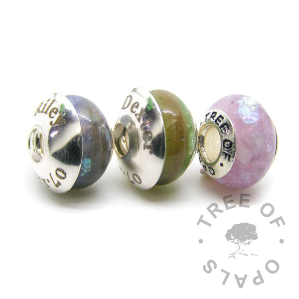 laser engraved charm washer trio around charms in solid sterling silver Tree of Opals charms