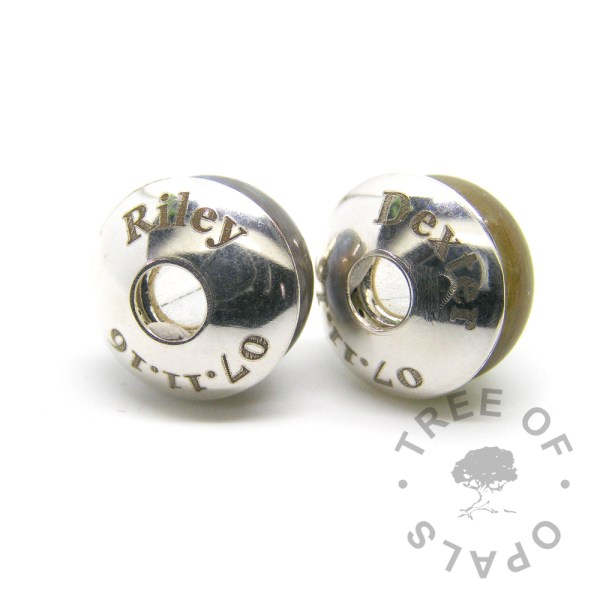 laser engraved charm washer duo around charms in solid sterling silver