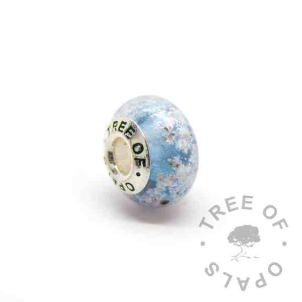 teal glass cremation charm set with solid sterling silver Tree of Opals core