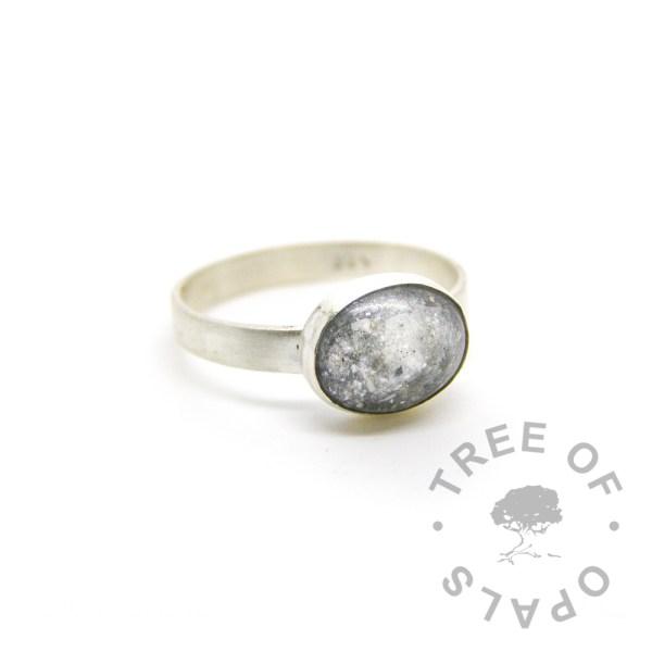 unicorn white cremation ash ring, 3mm brushed band Tree of Opals