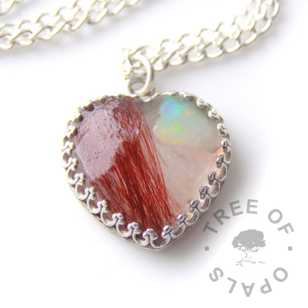 opal clear lock of hair heart necklace red hair, October birthstone genuine opal slice Tree of Opals