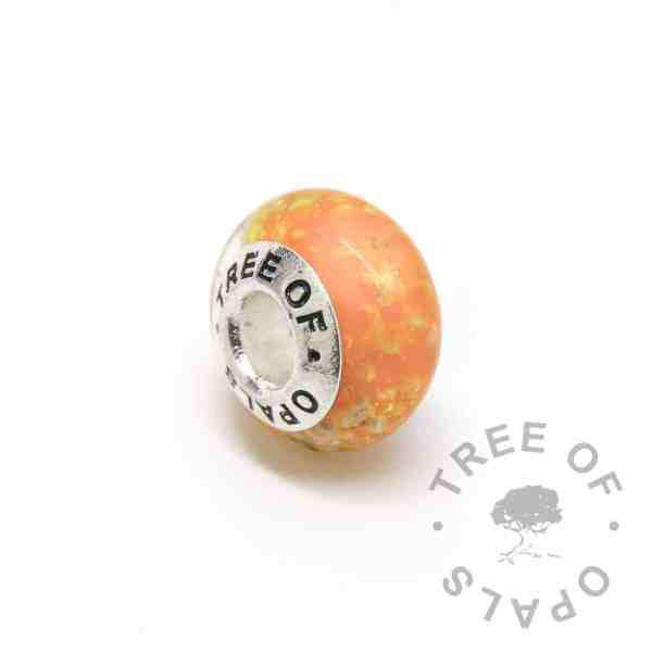 orange glass ash charm bead, solid sterling silver core for Pandora bracelets, memorial jewellery by Tree of Opals