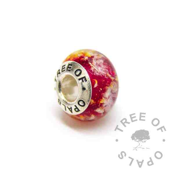 red glass cremation ashes charm bead, solid sterling silver core for Pandora bracelets, memorial jewellery by Tree of Opals