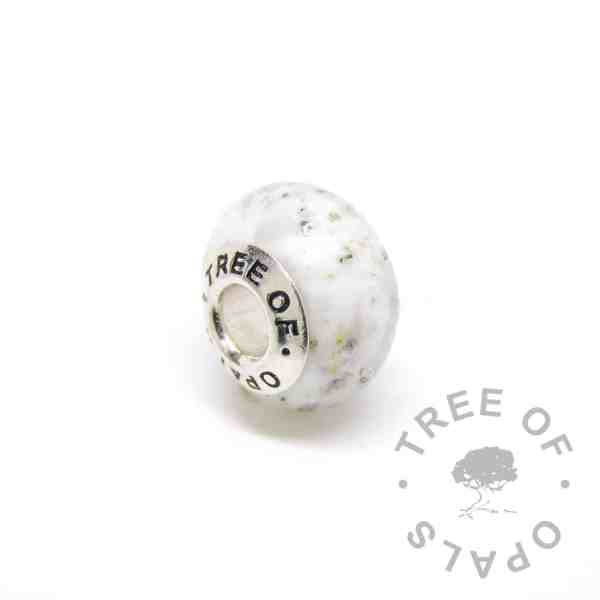 white glass cremation charm bead, solid sterling silver core for Pandora bracelets, memorial jewellery by Tree of Opals