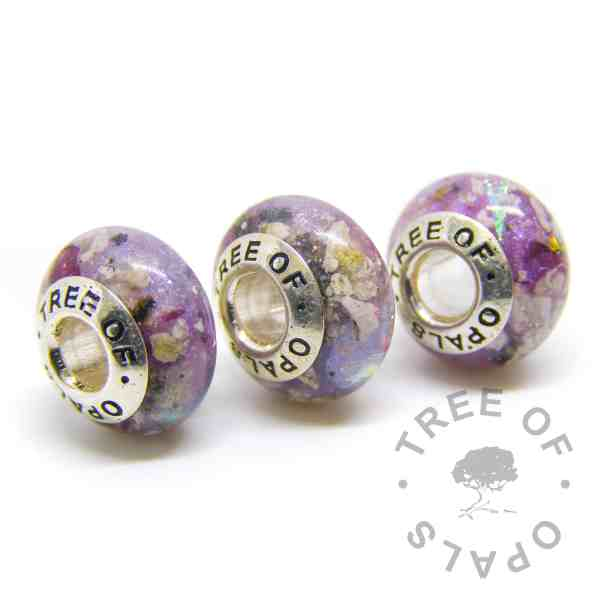 cremation ash family order orchid purple opal October birthstone, charm trio for Pandora bracelets, solid sterling silver Tree of Opals core