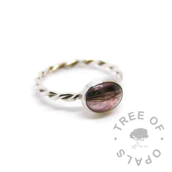 lock of hair ring, fairy pink sparkle mix on a twisted wire band, handmade by Tree of Opals in solid sterling silver