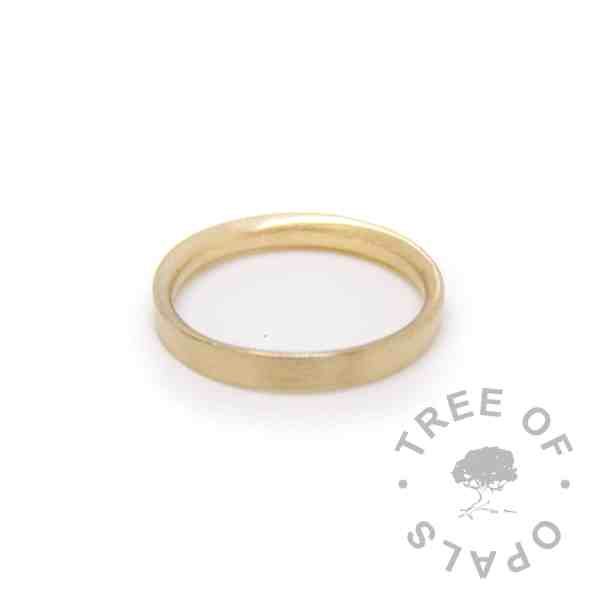 solid gold ring brushed 14ct yellow gold hallmarked stacking ring, handmade by Tree of Opals
