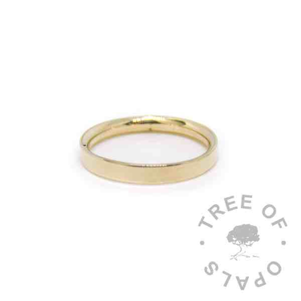 solid gold ring shiny 14ct yellow gold hallmarked stacking ring, handmade by Tree of Opals