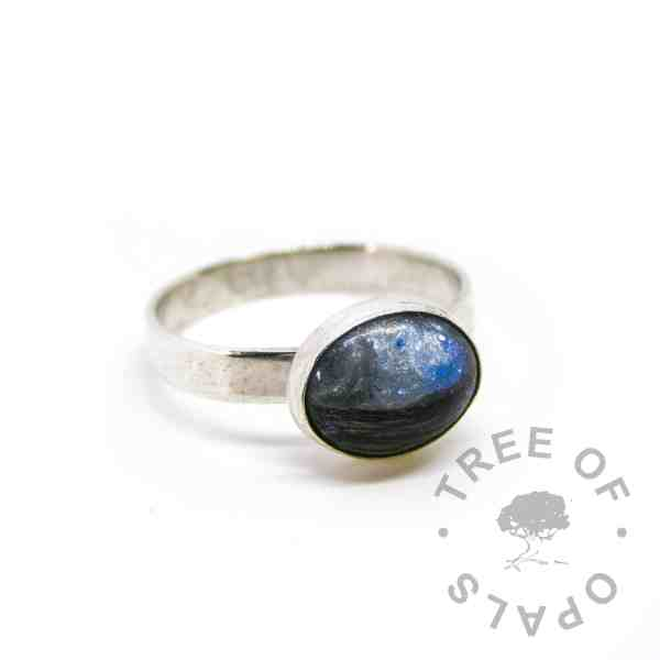 Aegean blue lock of hair ring on textured 3mm wire band
